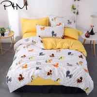 2019 Colorful Horses Dots Bedlinens Brush Microfiber Polyester Fabric Duvet Cover Set Twin Full Queen King Bedding Set