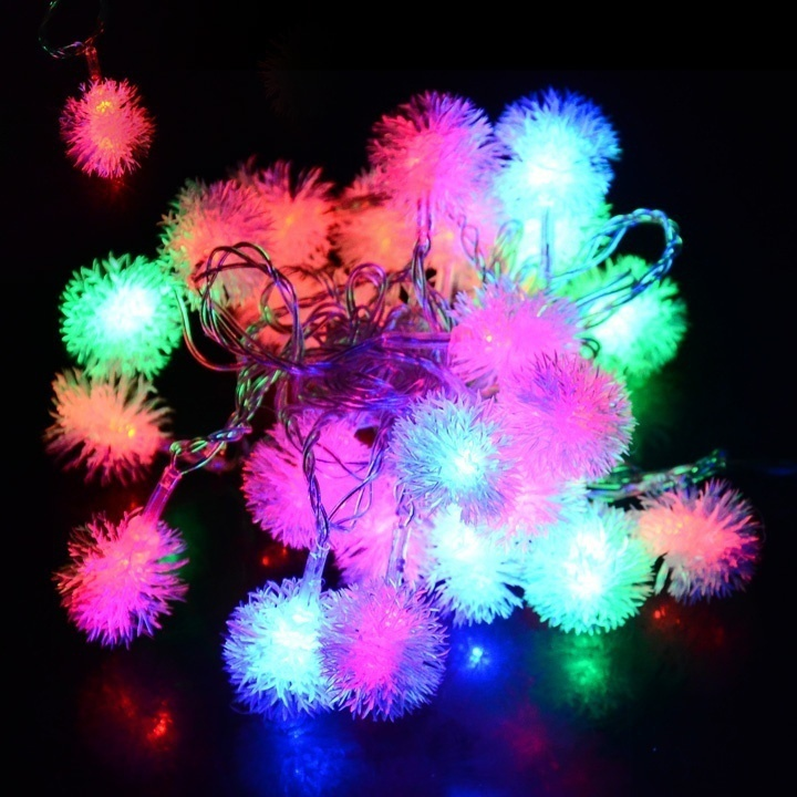 HENYNET 5M 28L Fuzzy Ball String Fairy Light Christmas Xmas Party Wedding Decoration ...