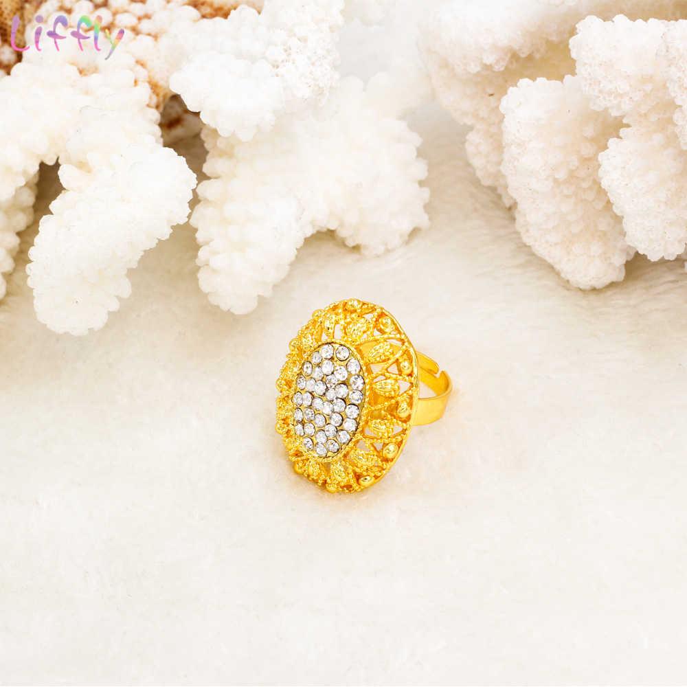 Liffly אפריקאי חרוזים תכשיטי סט Creative קסם נשים חתונת אירוסין תכשיטי קריסטל שרשרת טבעת עגילי 4 יחידות\סט מתנות