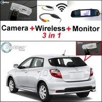 3 in1 Special Rear View Camera + Wireless Receiver + Mirror Monitor Easy DIY Back Up Parking System For TOYOTA Matrix 2008~2014