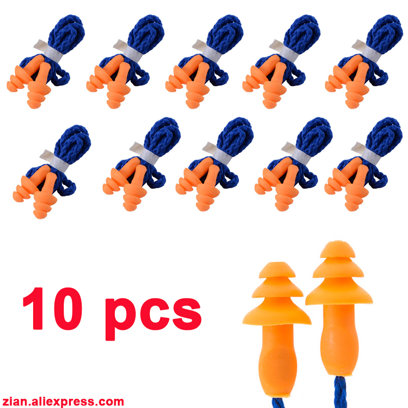 10Pcs Soft Silicone Corded Ear Plugs Swimming Ears Protector Reusable Hearing Protection Noise Reduction Earplugs Earmuff Sleep