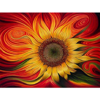 Sunflowers Flowers 5D Square Drill Rhinestone Pasted Painting Cross Stitch Crafts Needlework Diy Diamond Drawing Mural