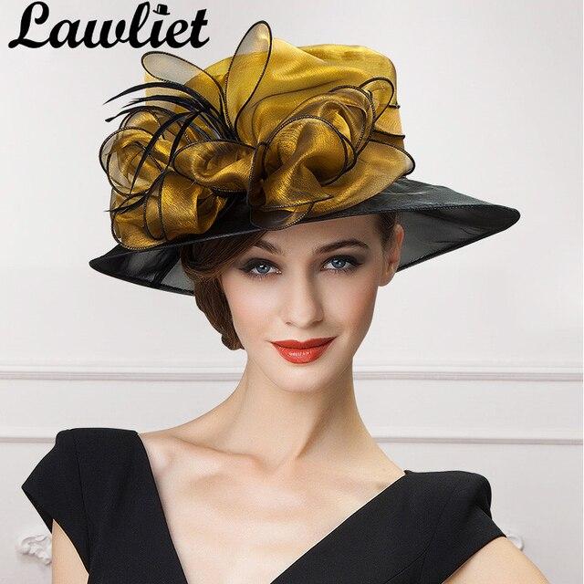 Lawliet luxury Women Fascinators Organza Bow Sun Hats Gold Gray Wide Brim  Lady Kentucky Derby Race Wedding Hats Bride Mom s Hat 6ea74c019d3