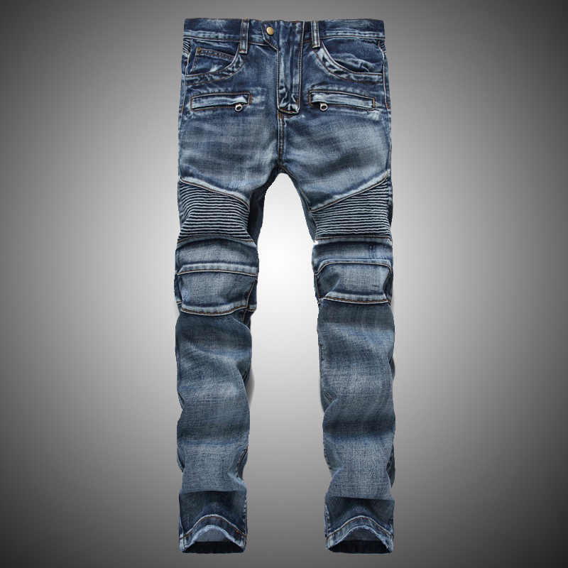 Men's Classic Jeans Pants Pleated Moto Biker Jeans Men Skinny Slim Fit Jeans Male Hip Hop Denim Trousers Brand Designer WY239