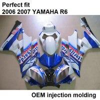 ABS plastic fairing kit for Yamaha injection molded YZF R6 06 07 blue white bodywork fairings set YZFR6 2006 2007 BN19