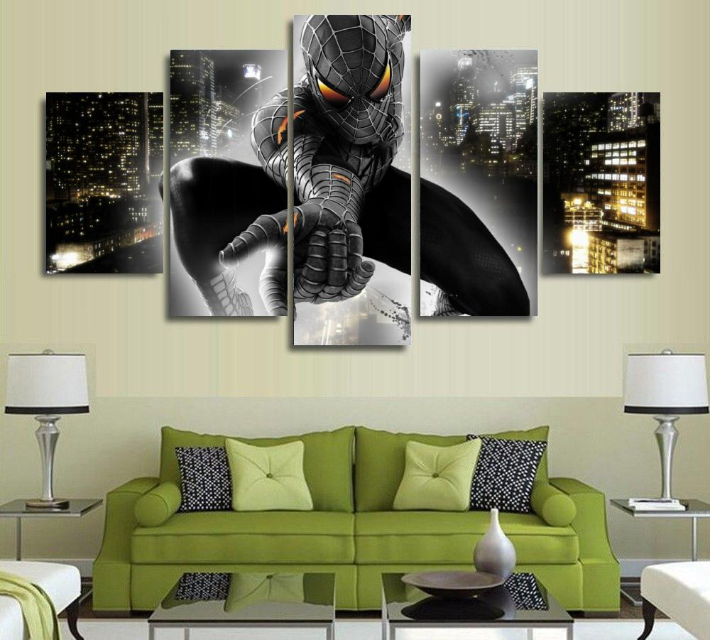 spiderman hd reviews online shopping spiderman hd reviews on 5 pieces black spiderman hd pictures printed canvas for wall art living room home decor unframed