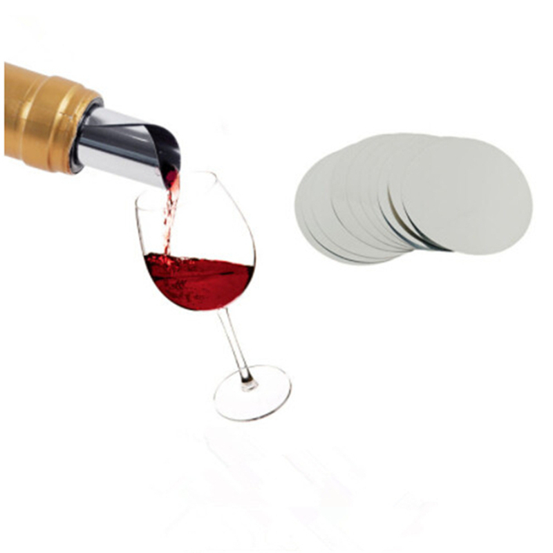 10 pièces/ensemble verseur à vin pliable feuille d'aluminium argent vin verseur goutte arrêt disque verser bec verseur Pack accueil Bar vin outils