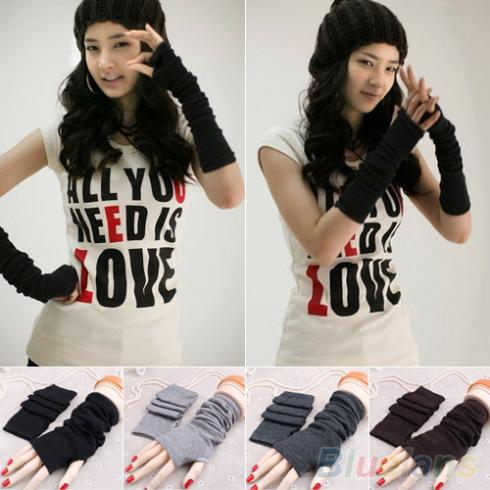Women Fashion Knitted Arm Fingerless Long Mitten Wrist Warm Winter Gloves 9DWV