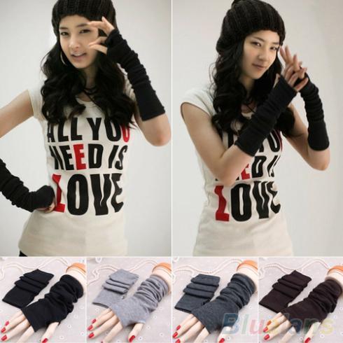 Women Fashion Knitted Arm Fingerless Long Mitten Wrist Warm Winter Gloves 9DWV