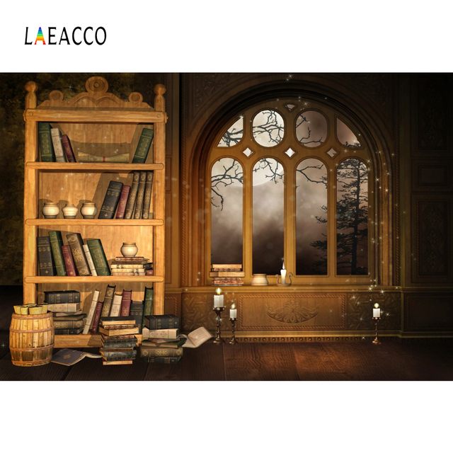 Laeacco Arch Window Book Bookshelf Photography Backgrounds Customized Photographic Backdrops For Photo Studio