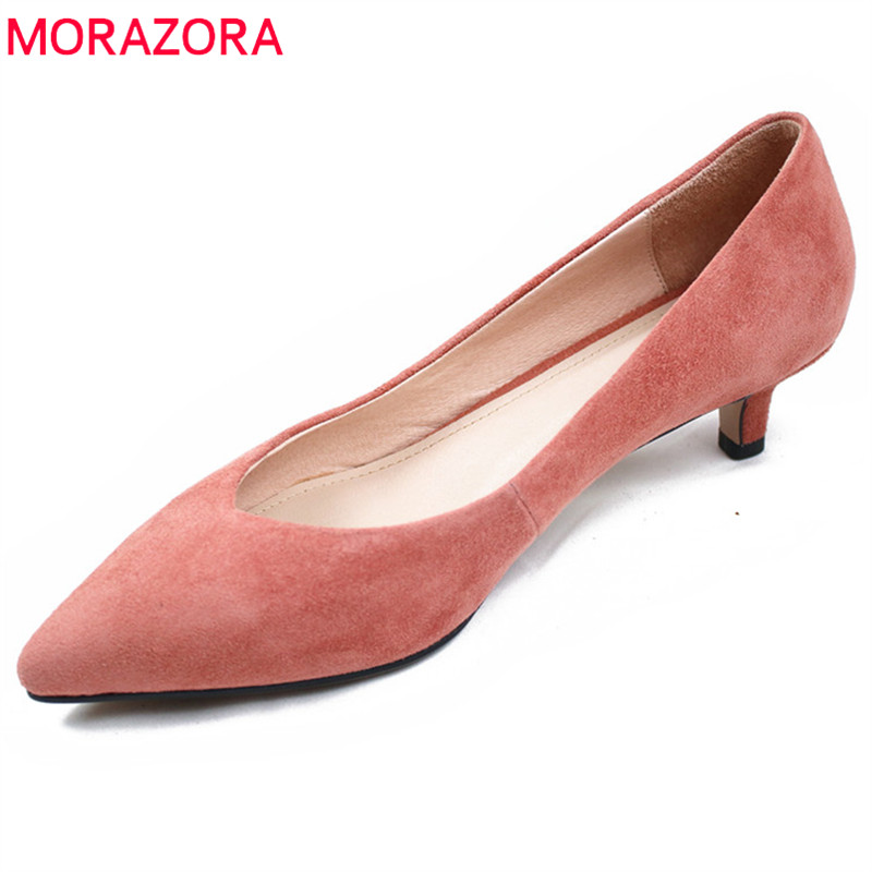 MORAZORA 2019 new arrival women pumps high quality suede leather summer shoes solid colors dress shoes ladies office shoes MORAZORA 2019 new arrival women pumps high quality suede leather summer shoes solid colors dress shoes ladies office shoes
