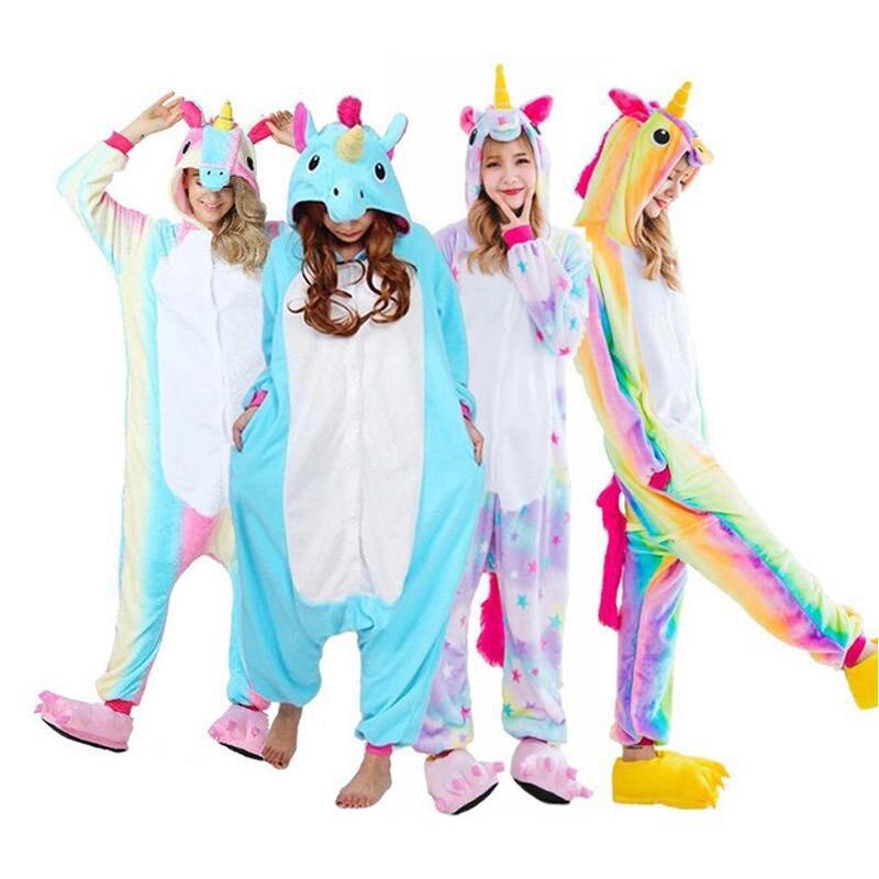 2019 Halloween Adulto Anime   Pajamas     Sets   Cartoon Sleepwear Women   Pajamas   Flannel Animal Panda Unicorn   Pajamas   Winter Warm Hooded
