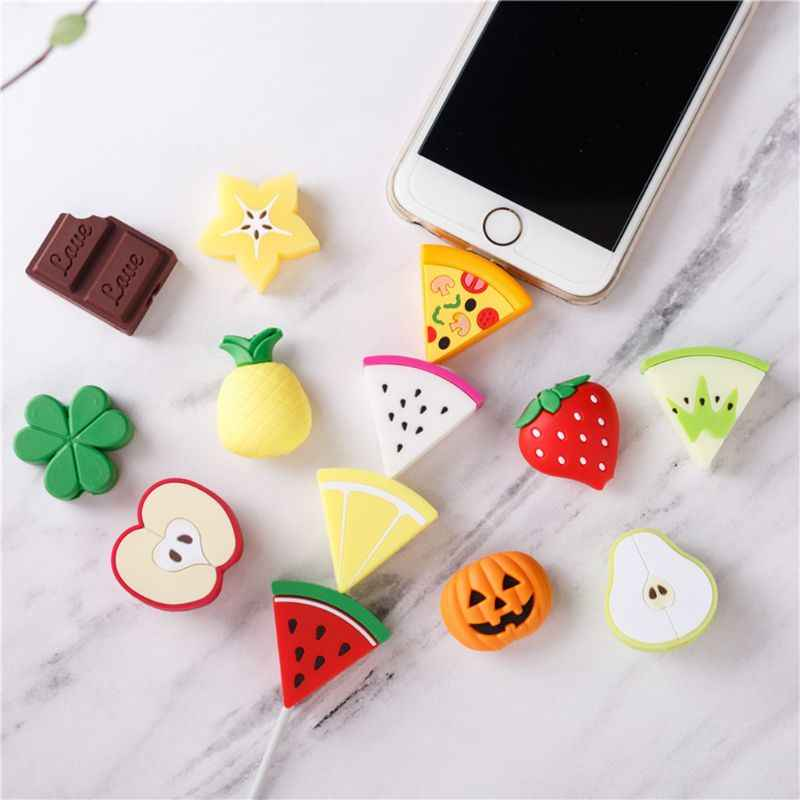 Cute Fruit Pattern USB Cable Protector Soft Silicone Charger Wire Holder Organizer Protection for iPhone Smart Phone Connector A