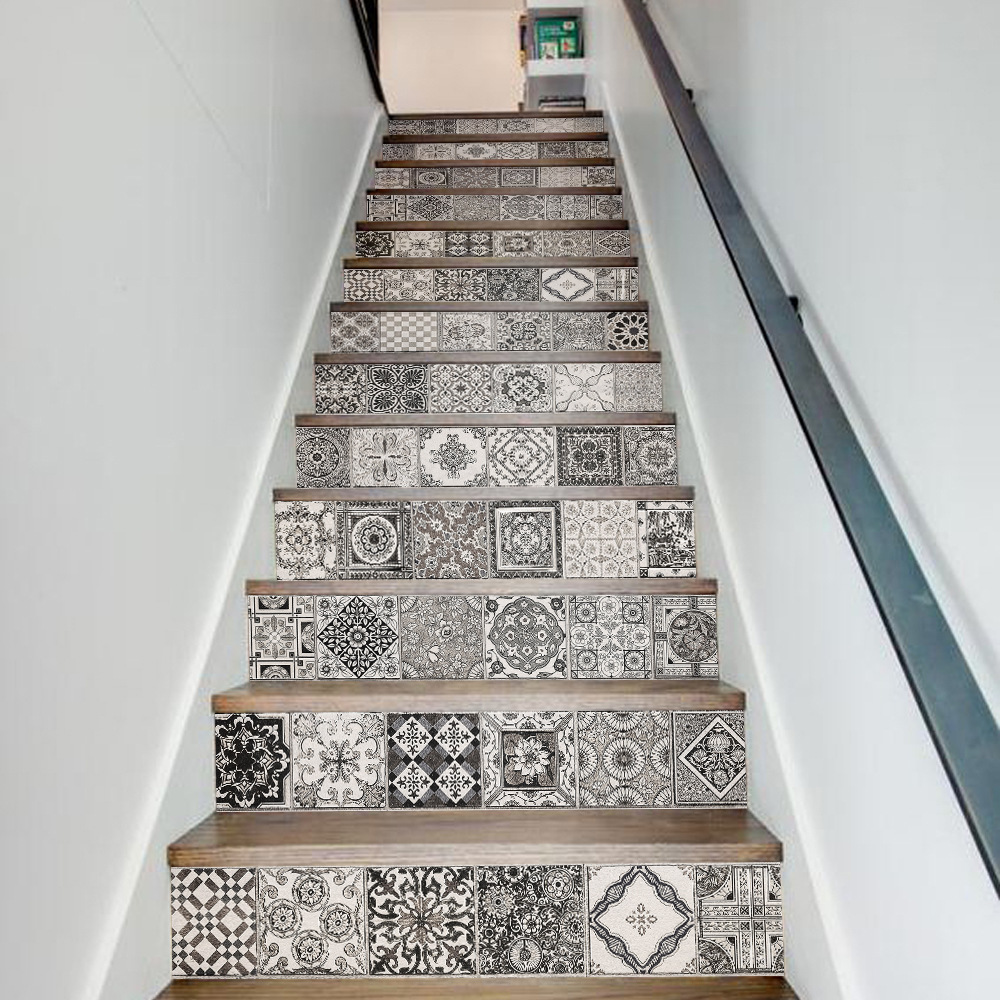 3d Black White Ceramic Pattern Wall Tile Stairs Stickers Removable Pvc Wall Sticker Waterproof Mural Poster For Room Stairway