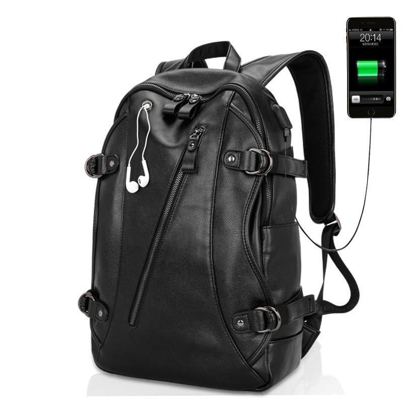 2018 Brand waterproof USB charging laptop backpack men PU leather backpacks for teenager Men Casual Daypacks mochila male men s backpack men pu leather travel backpack casual male daypacks laptop backpack men large capacity backpacks for teenager
