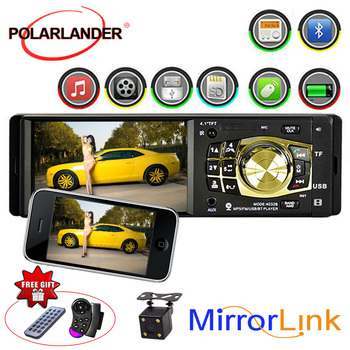 Remote Control Multilanguage TF/USB 4.1 Inch 1 Din Audio Video Mirror Link For Android Phone Car Radio Bluetooth Car MP5 Player image