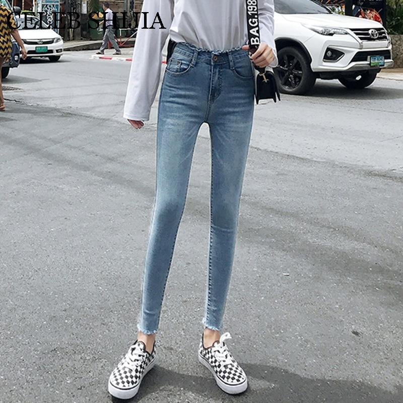 High Waist Jeans Woman High Elastic Korean Pencil Pants Thin Blue Ankle-length Pockets Washed Soft Denims Female Summer Autumn