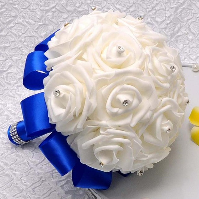 Rose Artificial Bridesmaid Flowers Wedding Bridal Bouquets Royal Blue Silk Ribbon Handmade Accessories