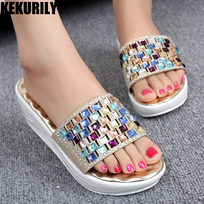 Shoes Woman bling rhineston platform slides wedges sandals woman slippers comfortable glitter shoes loafers Golden silver