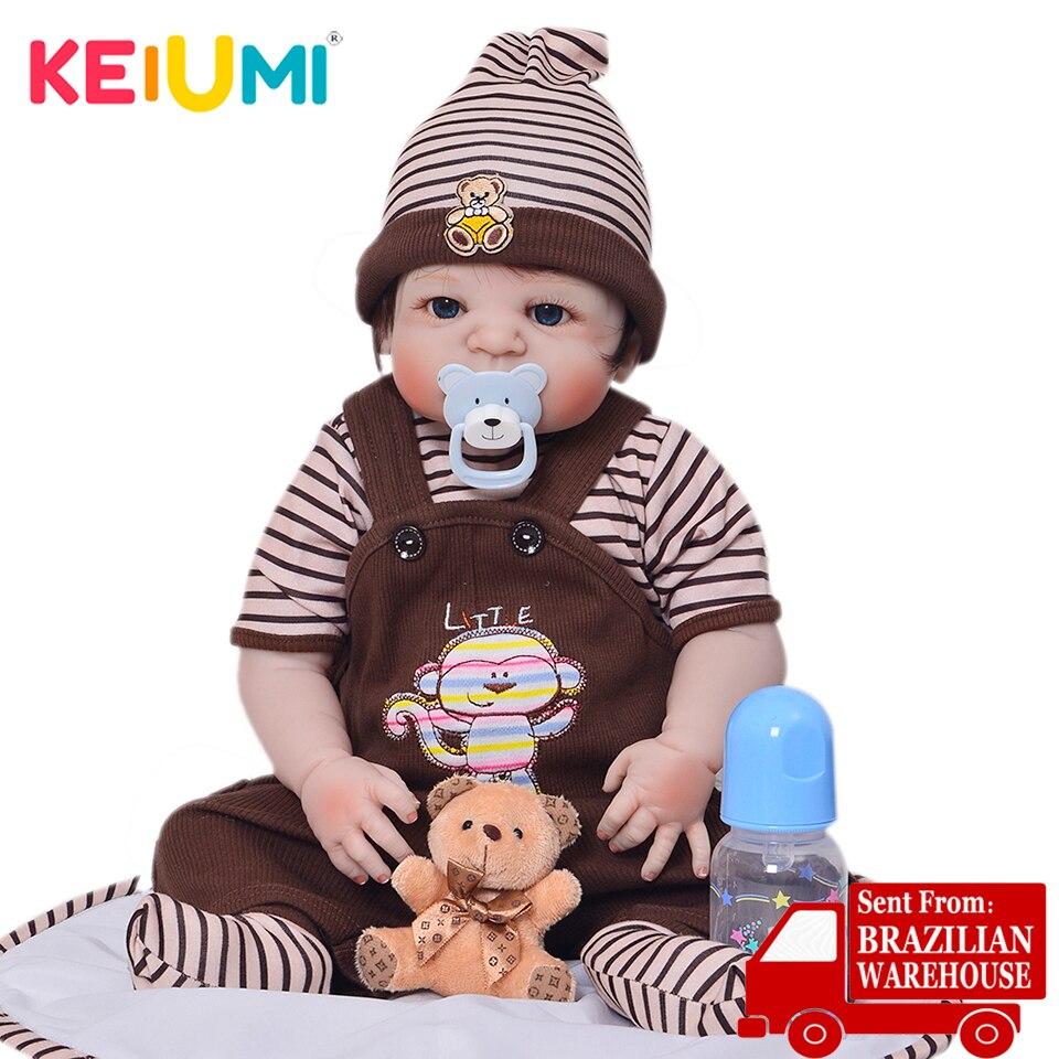 Keiumi 23 Polegada bonito renascer boneca menino artesanal silicone reborn bebê boneca de corpo inteiro vinil bebês brinquedo para presentes aniversário do miúdo