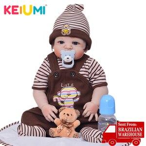 KEIUMI 23 Inch Cute Reborn Boneca Boy Handmade Silicone Reborn Baby Doll Full Body Vinyl Babies Toy For Kid's Birthday Gifts(China)