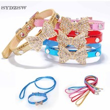 SYDZSW Serpentine Leather Dog Collars & Leads Puppy Leash Luxury Pet Products Diamond Bow Tie Cat Collar Chihuahua Necklace XS M