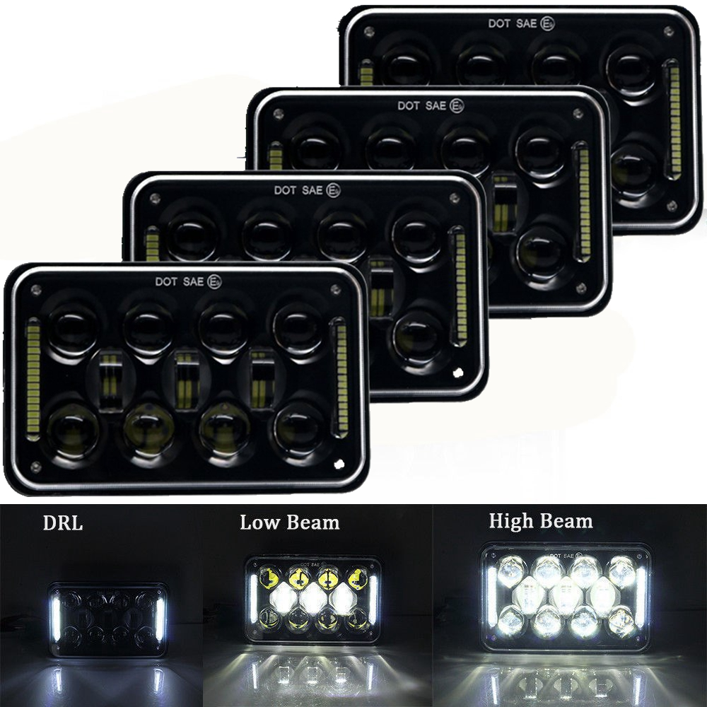 60w 4x6inch LED Rectangular Headlights Replacement for H4651 H4652 H4656 H4666 H6545 for Peterbil Kenworth F reightinger Black