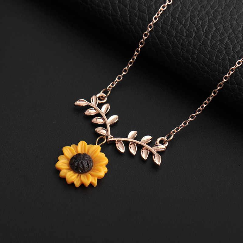 ファッションひまわり葉のペンダントネックレス素敵なフラワーチョーカー鎖骨チェーン絶妙な装飾のネックレス完璧なトルク