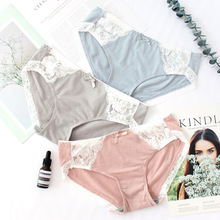 Wasteheart Women Fashion Pink Gray Cotton Lace Bow Low Waist Panties Underwear Lingerie Briefs 3 Piece Color Plus Size