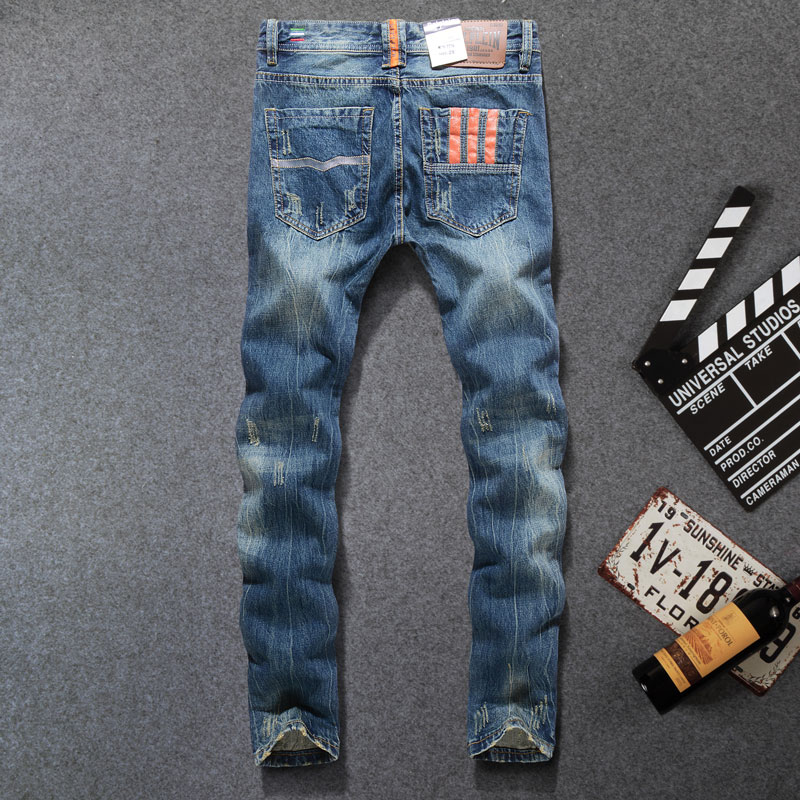 2019 High Quality Fashion Men Jeans Dsel Brand Ripped Jeans For Men Patchwork Pants Straight Slim Fit Distressed Hole Jeans Men