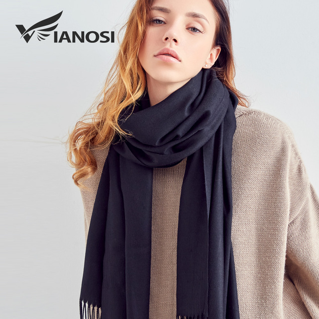 [VIANOSI] Winter Scarf Women Solid Color Cashmere Scarves With Tassel Lady Warm Scarf Top Quality Female Shawl Dropshipping