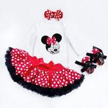 De niña conjuntos de ropa de moda de algodón blanco de manga larga Romper Dot tutú faldas diadema Zapatos Ropa Infantil 0-2años traje de bebé