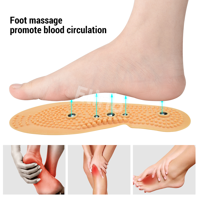 Elino Magnetic Therapy Insoles Rubber Magnet Foot Massage Adjustable Cut Feet Care Shoe Pad for Men Women in Insoles from Shoes