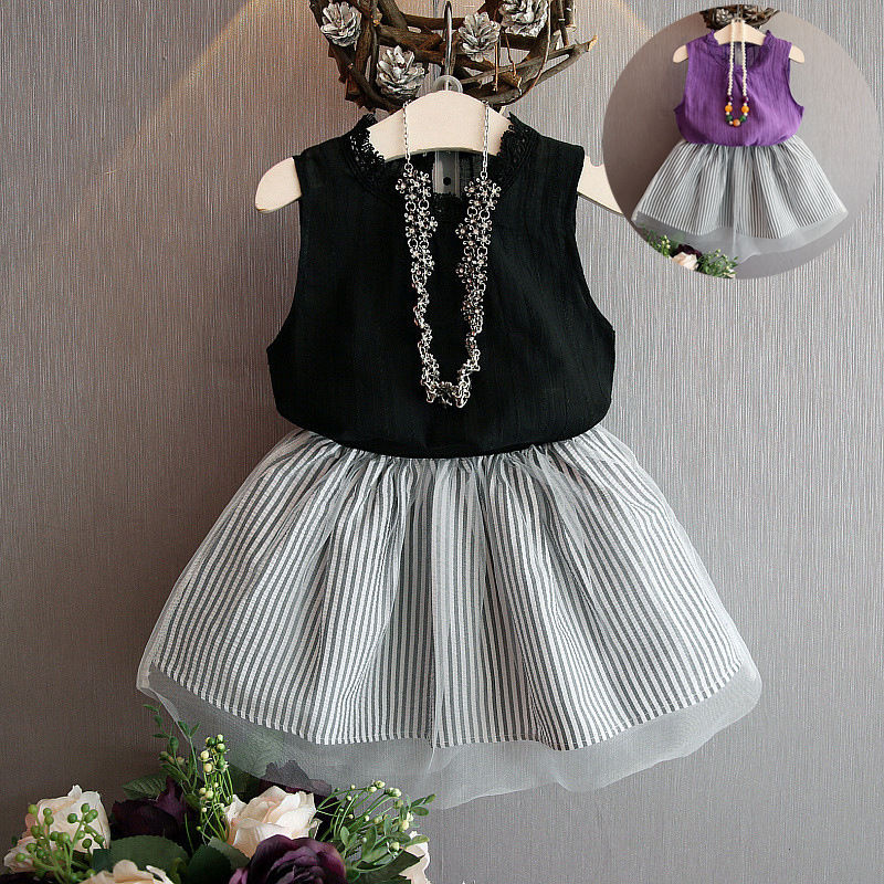 2018 kids fashion girls clothing set o-neck sleeveless chiffon vest Striped skirt girls summer clothes uneven hem striped midi skirt