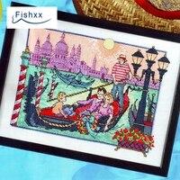 תפר צלב Fishxx אירופאי חבילת סעיף מגזין Crazy114-4 ונציה אגם טיול נסיעות המשפחה