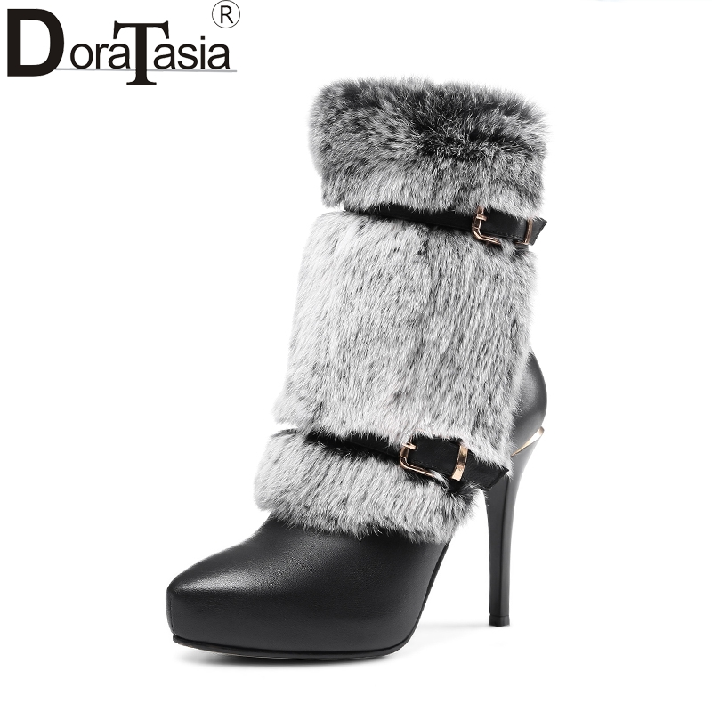 DoraTasia top quality Rex rabbit fur genuine leather women shoes woman sexy thin high heels winter ankle boots party wedding doratasia genuine leather zip up platform elegant ankle boots sexy thin high heels party wedding boots woman shoes women