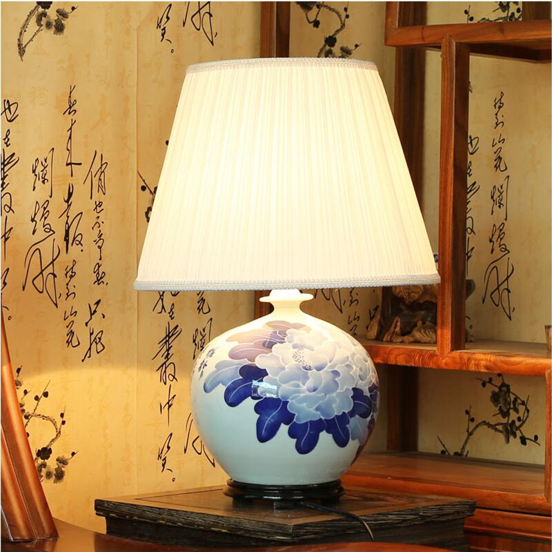 Handmade fabric painted lampshades white blue chinese - Porcelain table lamps for living room ...