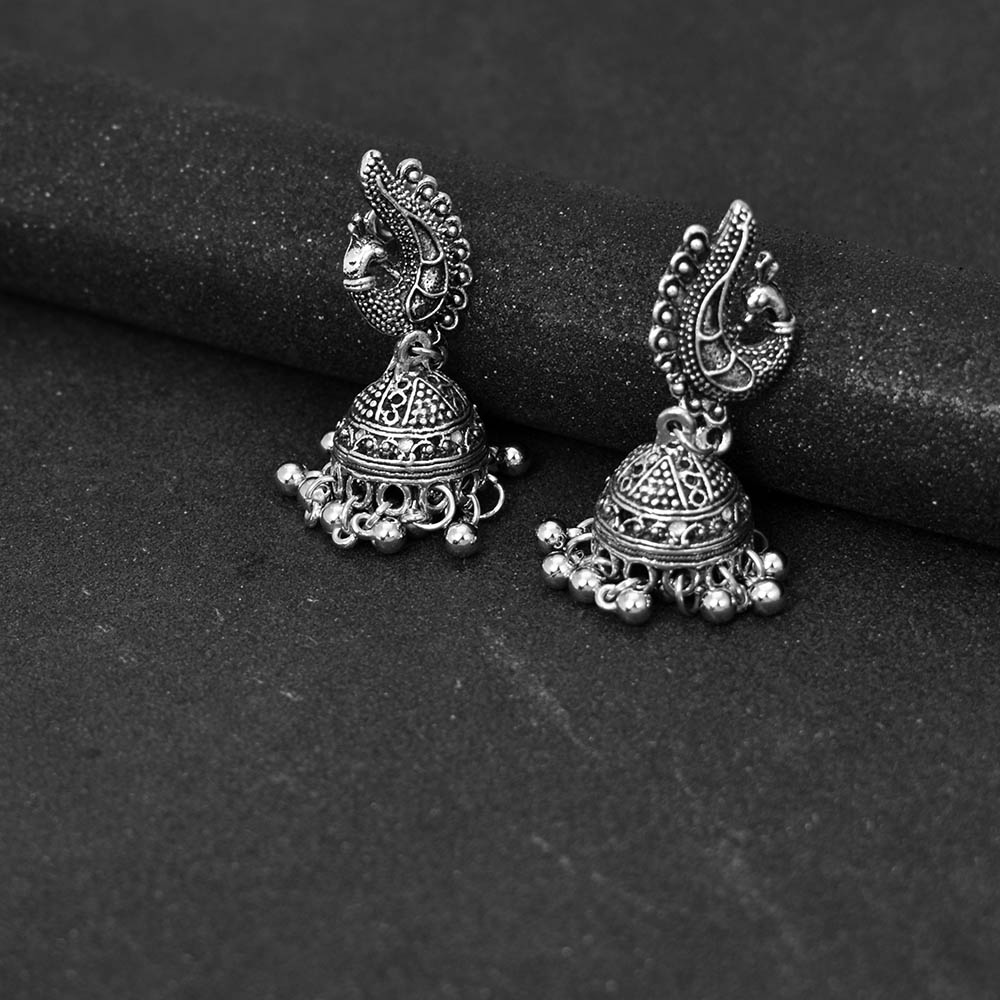 Bing Tu Vintage Earrings For Women Antique Silver Color Indian Ethnic Chandelier Dangle Earring Jhumka Retro Traditional Jewelry Jewelry & Accessories