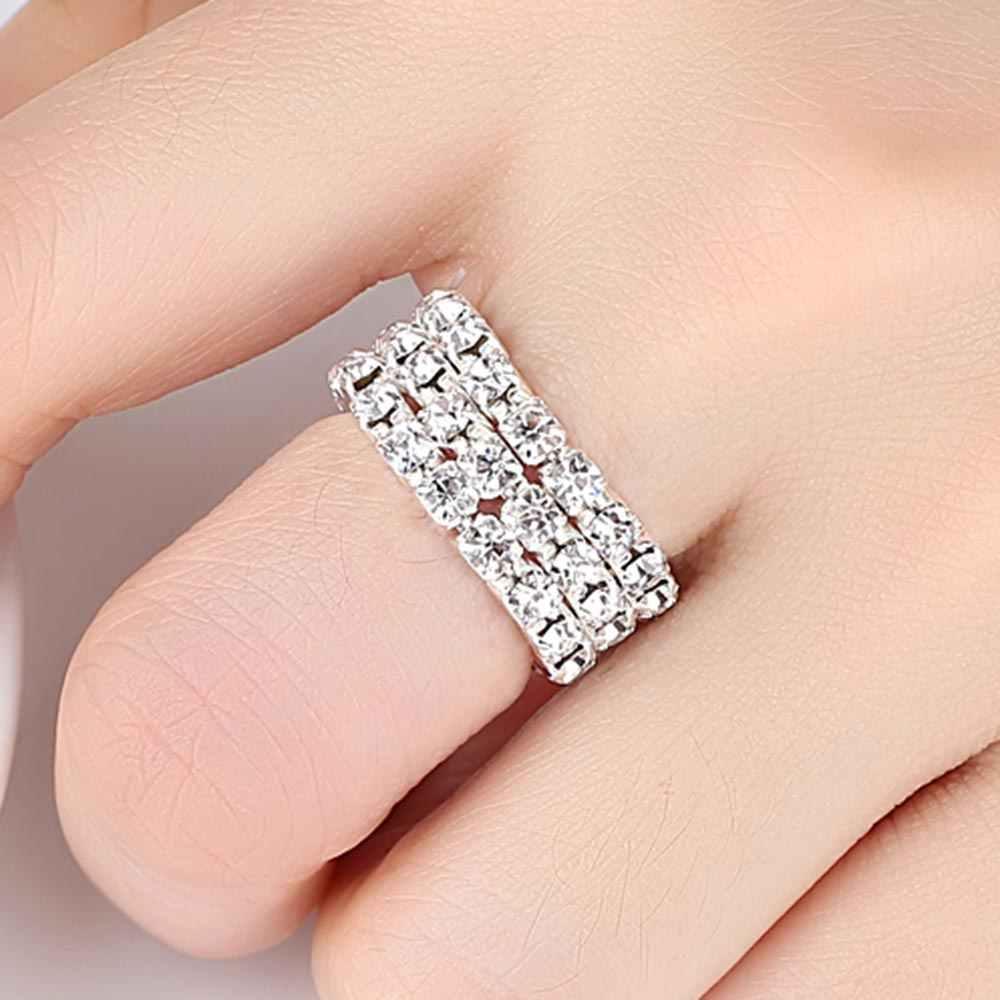 Dovolov incrusté Unique fiançailles mariage pour les femmes 1/2/3/4 couches en alliage de Zinc bijoux promesse amitié anneau D3