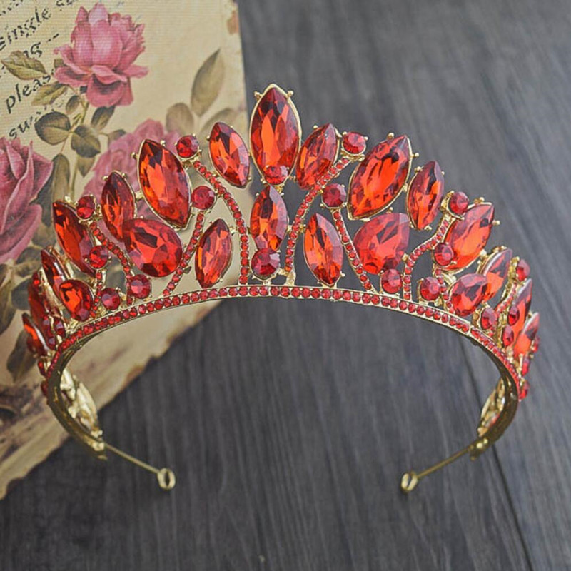 Luxurious Quinceanera Pageant Prom Crowns and Tiaras Gold Alloy Red Rhinestone Beads Wom ...