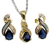 White Fire Australian Opal Jewelry Set Yellow Golden Earrings Pendant Necklace Set Modern 8 Design Beauty Women Gift
