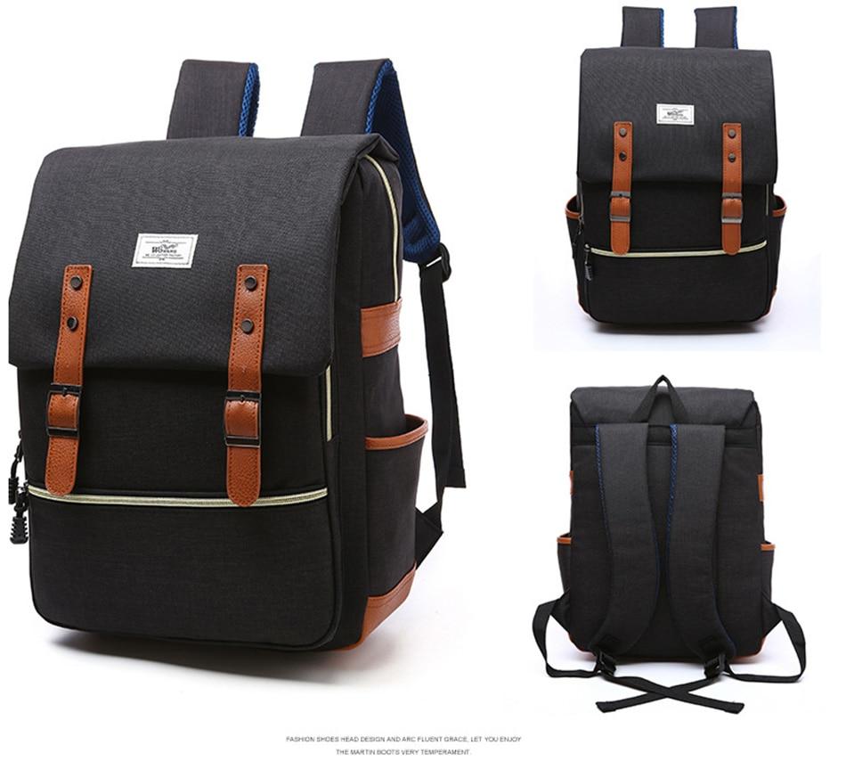 2018 Vintage Men Women Canvas Backpacks School Bags for Teenager Boys Girls Laptop Backpack with USB Charging Fashion Travel Bag (16)