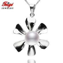 New arrival Flower-shaped Pearl Pendant Necklaces 8-9mm White Freshwater Pearls 100% Real 925 Silver Womens Fine Jewelry