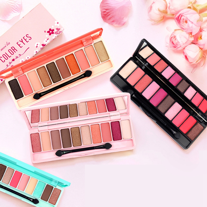 10in1 Sakura Nude Pearl Shimmer&Matte Eyeshadow Palette 10 Color Nake Smoky Earth Orange Color Eye Shadow Pallete Set Eye Makeup