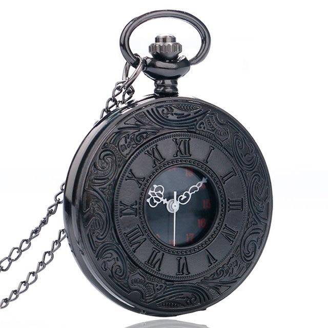 2016 New Arrival Black Roman Numbers Hollow Quartz Pocket Watch Elegant Men Wome