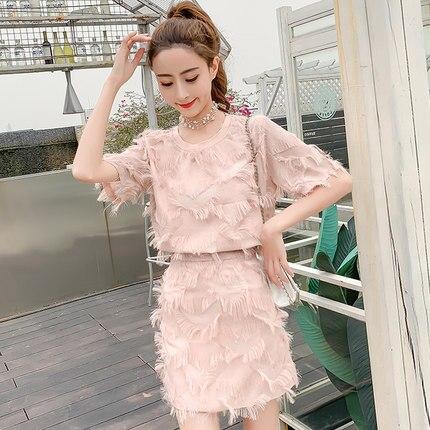 Nouveauté 2019 femmes XL ensemble été femmes rose robe ensembles plumes chemise ensembles 2019 été plage robe taille régulière