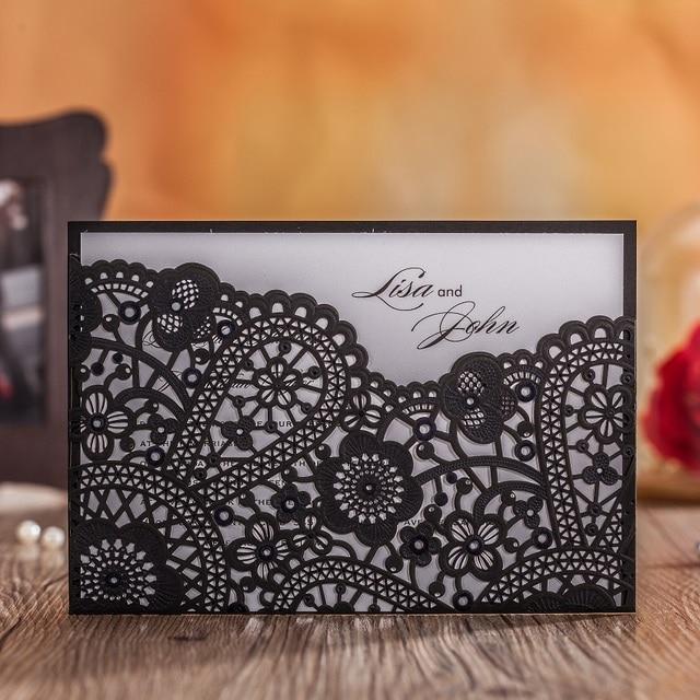 Black Lace Elegant Wedding Invitation Cards Embossing Design Laser Cut Business Birthday Party