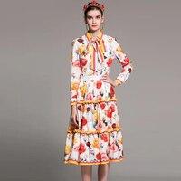New Designer Fashion Runway Suit Sets Women Long Sleeve Lapel Bow Shirt Ruffle Elegant Skirt Rose