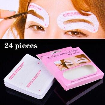 24 Pcs Non Wovens Eyebrow Stencil Pencil For Eyebrows Enhancer Drawing Guide Card Brow Template DIY Makeup Tools