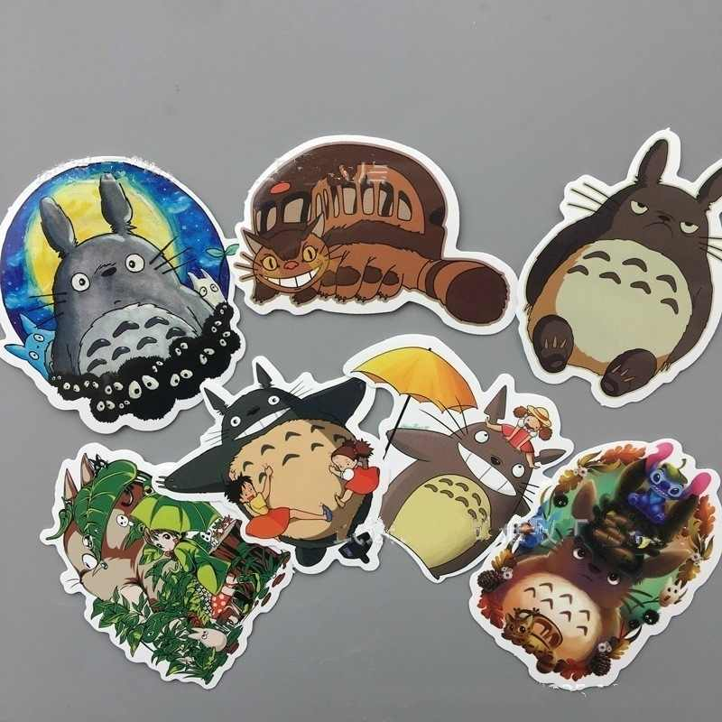 7 Pcs/set Kartun Totoro Sticker Skateboard Stiker Laptop Snowboard Kulkas Mobil Surf Vinyl Decal 2019